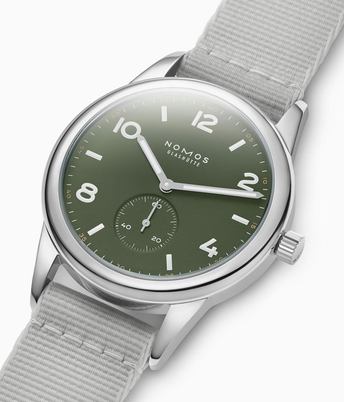 The muted colours of the new Nomos club watch