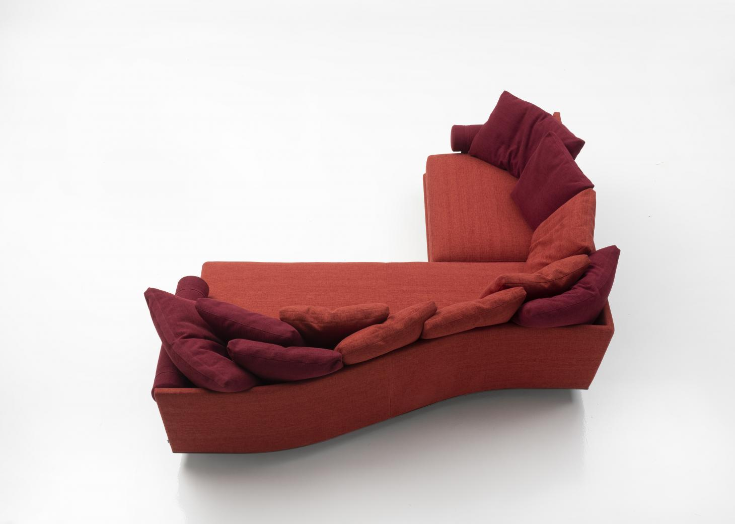 Aerial view of a red sectional sofa by B&B Italia