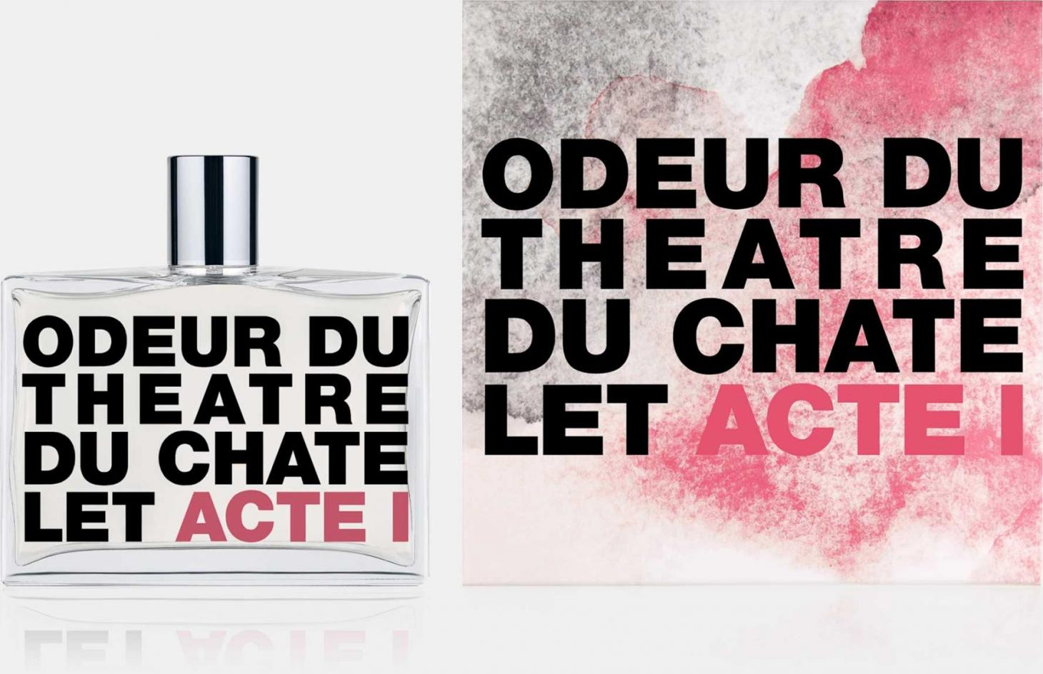Théâtre Du Châtelet perfume by Comme des Garcon in square glass bottle with pink and black typographic label