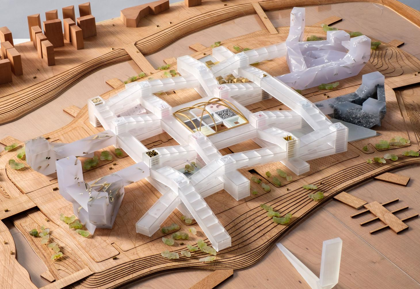 An architectural model of a building complex