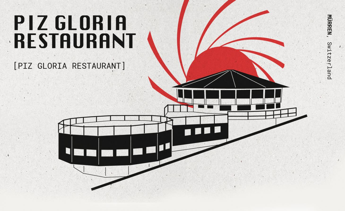black and red drawing of Piz gloria restaurant from the on her majesty's secret service Bond movie