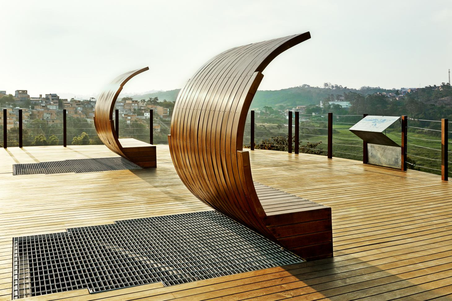 Curved timber benches