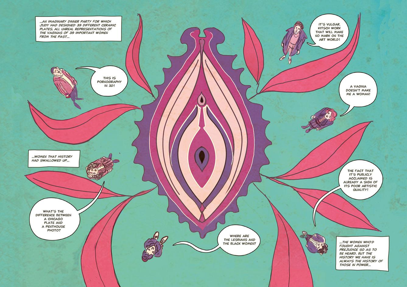 spreads from graphic novelThe Women Who Changed Art Forever –Feminist Art Graphic Novel, byValentina Grande and Eva Rosetti,published by Laurence King