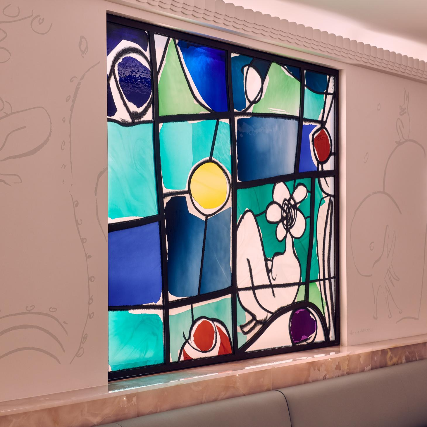 Stained glass windows at Claridge's Painter's Room bar