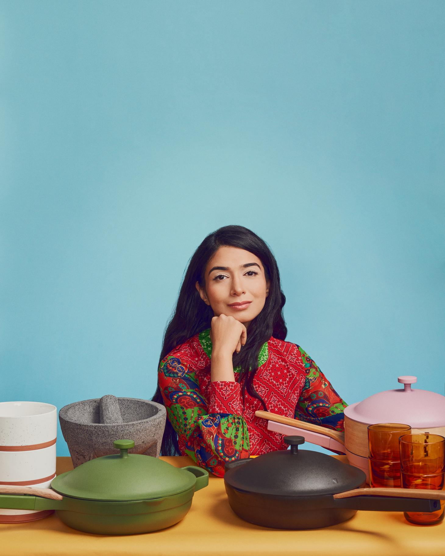 Our Place founder Shiza Shahid with the brand's Always Pans