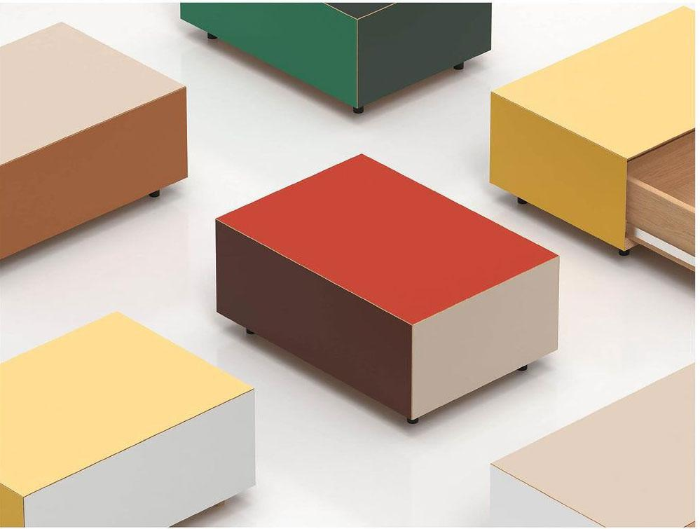 Cube shaped coffee tables in bold colours
