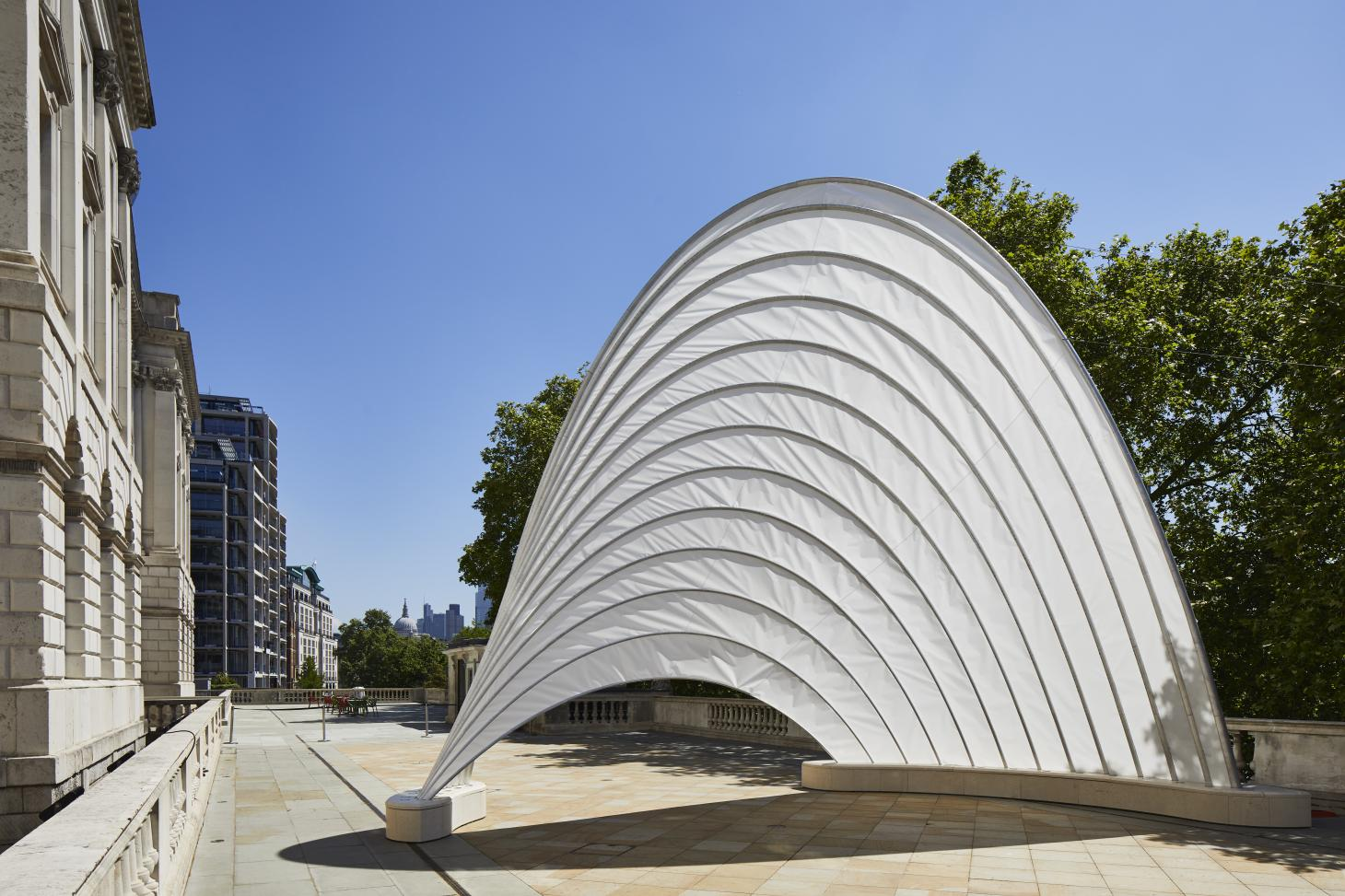 White sail-like pavilion by Ini Archibong installed at Somerset House for London Design Biennale