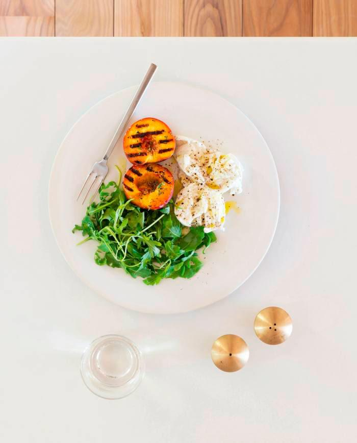 Burrata and grilled peaches recipe from Home Farm Cooking by John Pawson