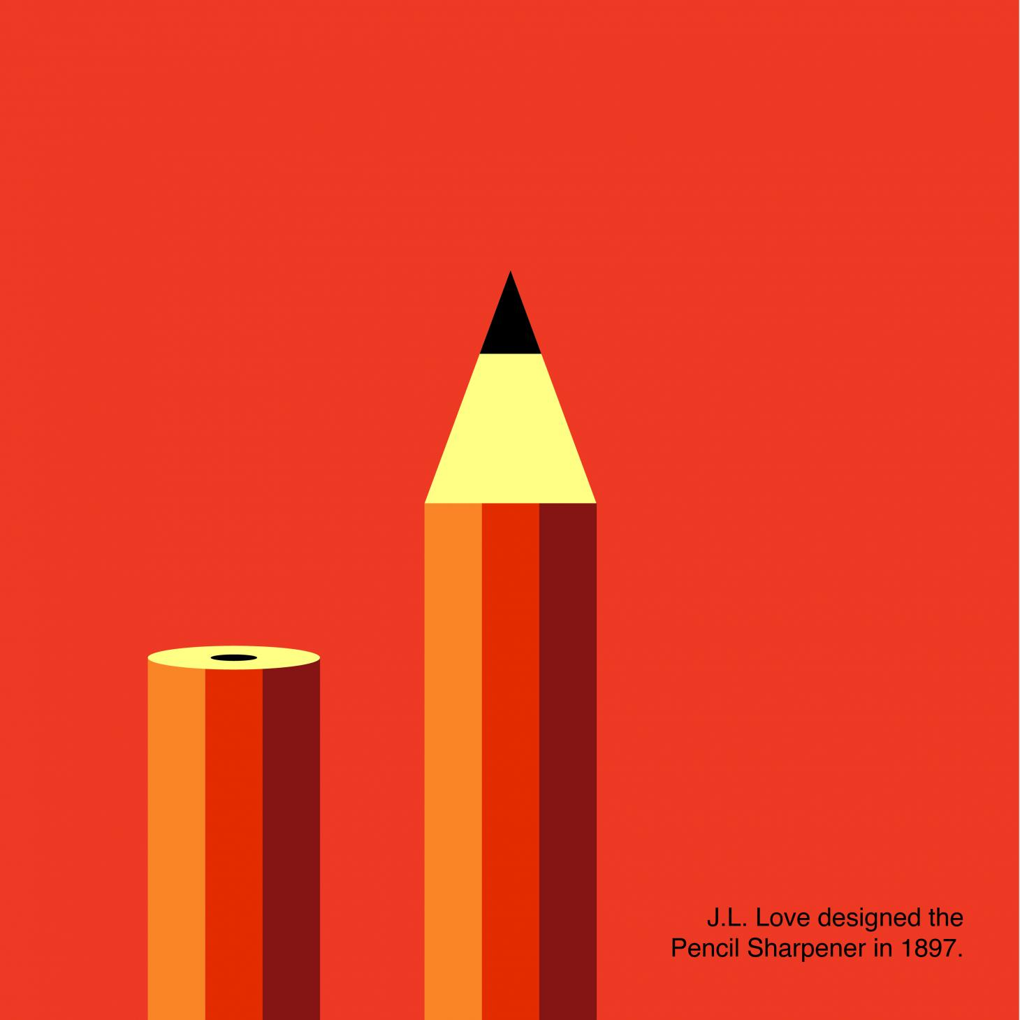 A graphic with a red background and stylized illustration of a pencil, with text explaining that the pencil sharpener was originally conceived by J. L. Love in 1897