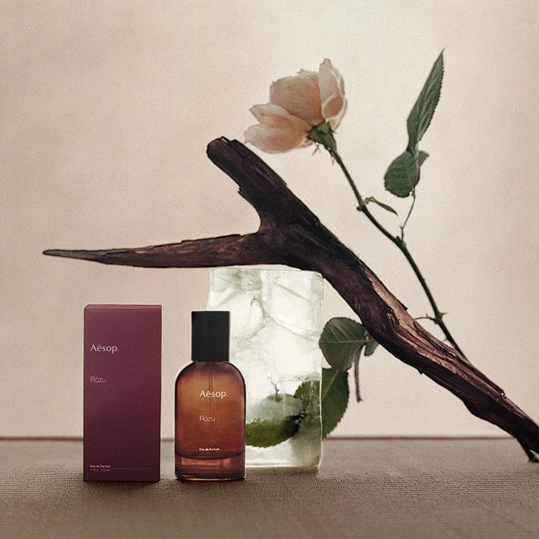 still life with roses of rozu perfume by aesop inspired by Charlotte Perriand
