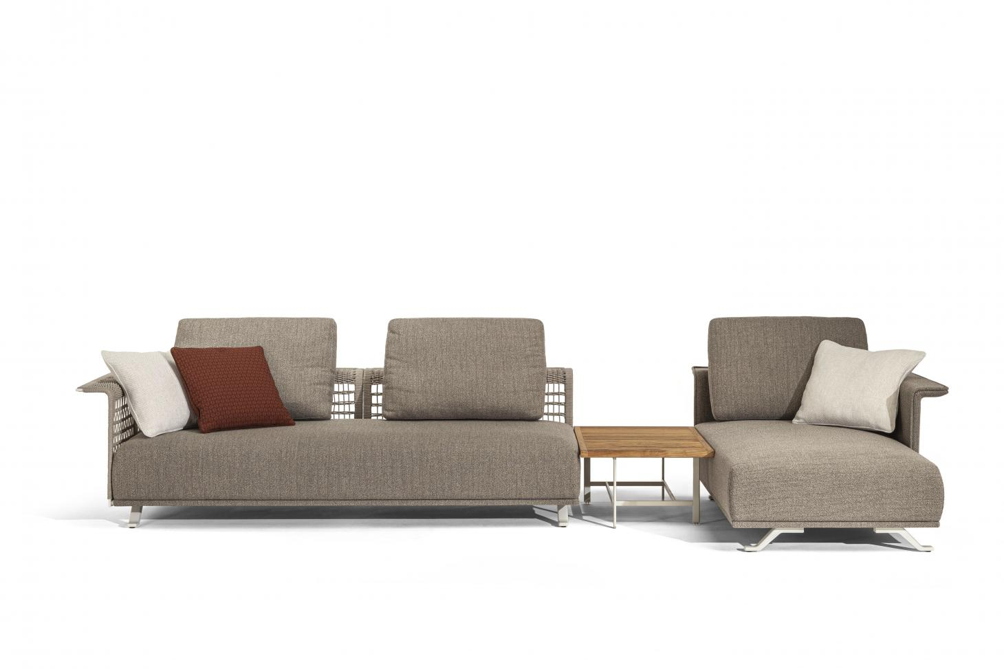 Grey outdoors sofa with woven back