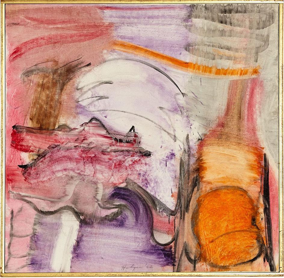 Grace Hartigan's abstract painting, Pigeon Calls, 1962, oil on canvas