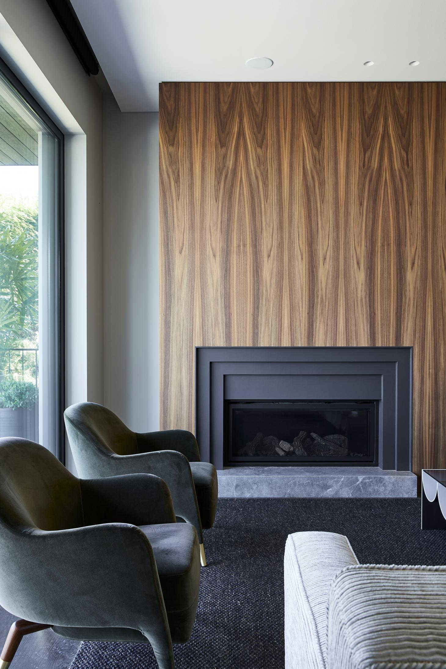 dark wood panelling at living space in Villa Carlo