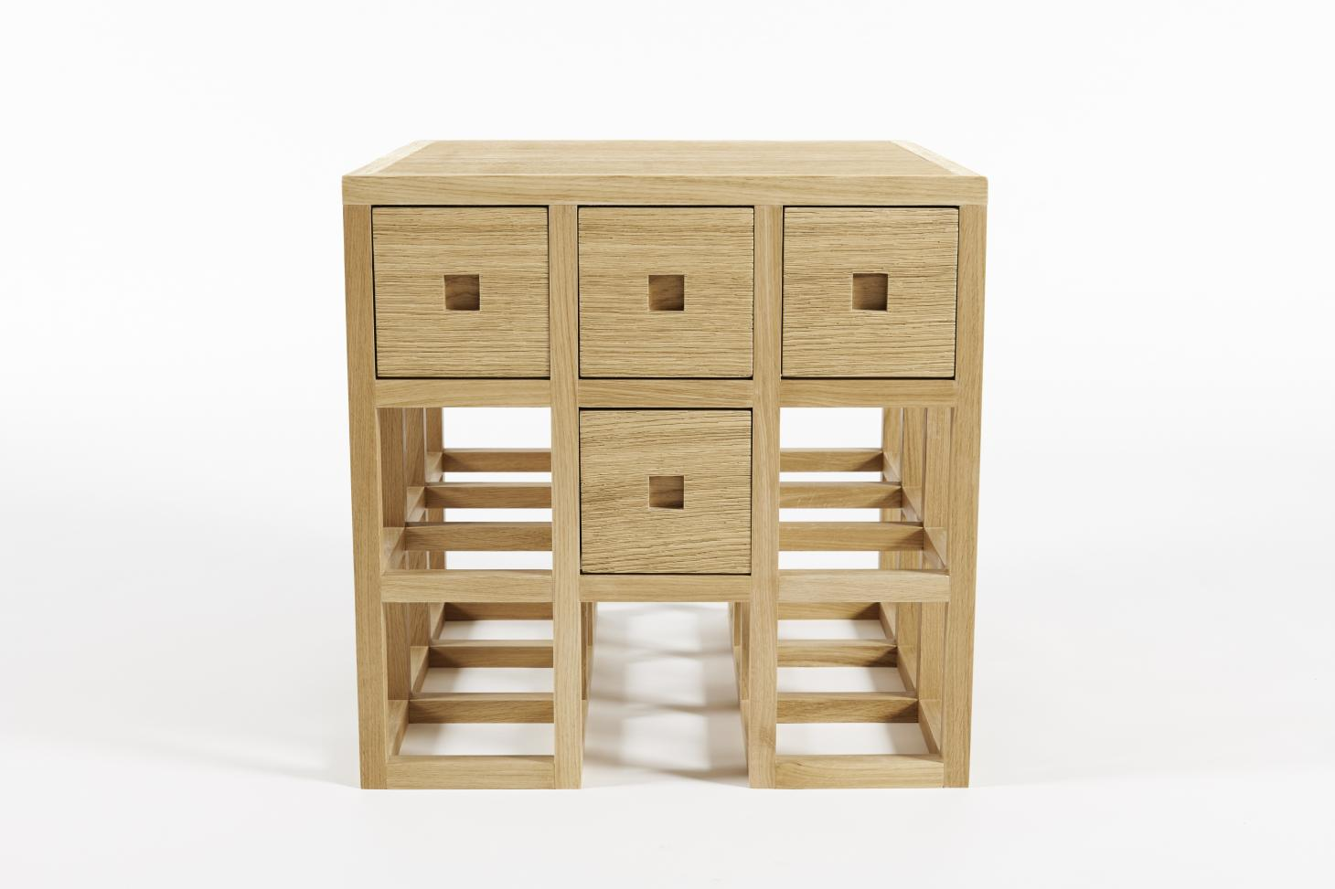 Aria bedside table in oak, by Rena Dumas, reissued by The Invisible Collection and RDAI