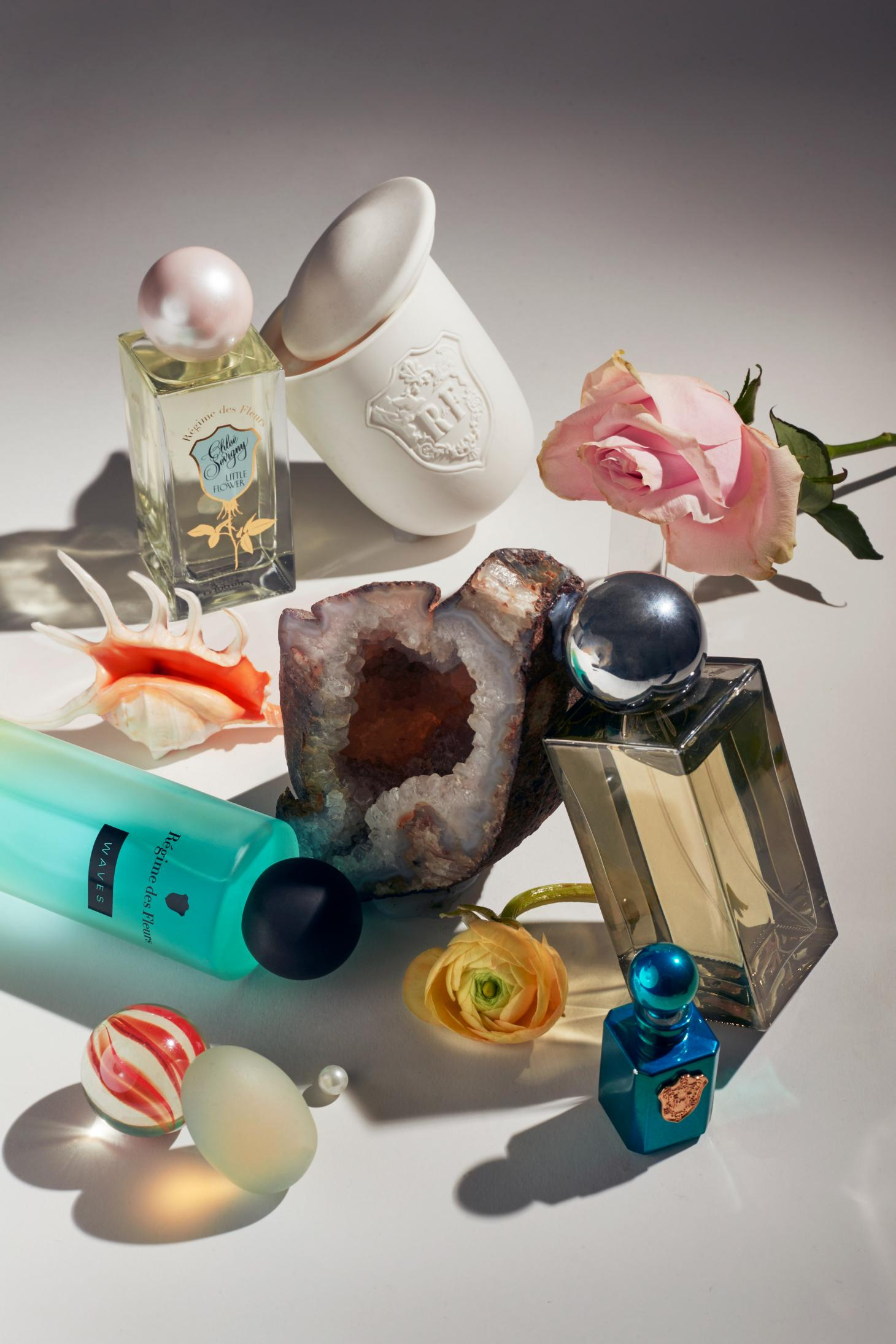 Régime des Fleurs perfume bottles including scent designed by chloe sevigny and Waves from the Personal/Space collection
