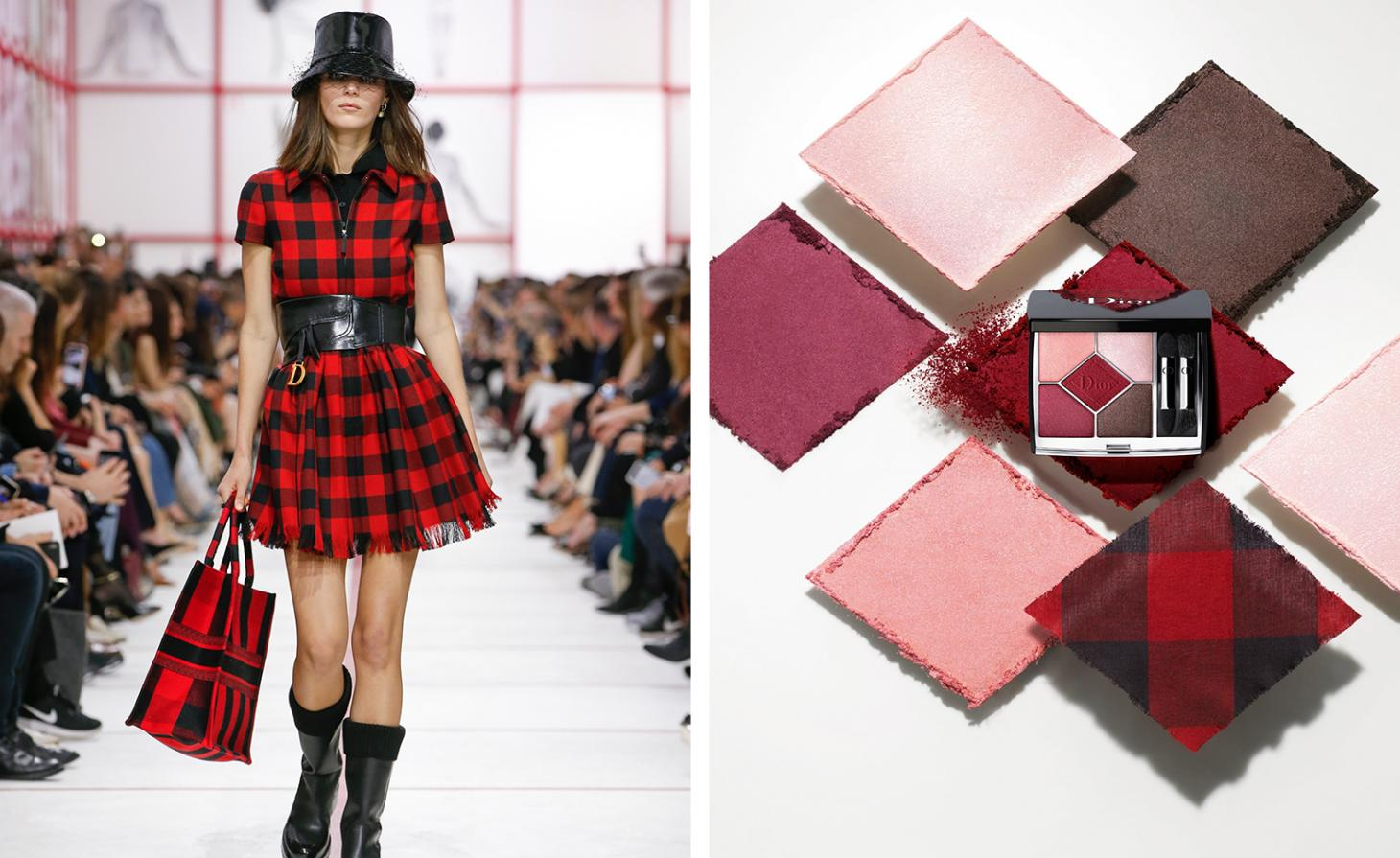 Dior 879 Rouge Trafalger Couleurs Couture Palettes next to Dior AW19 womenswear