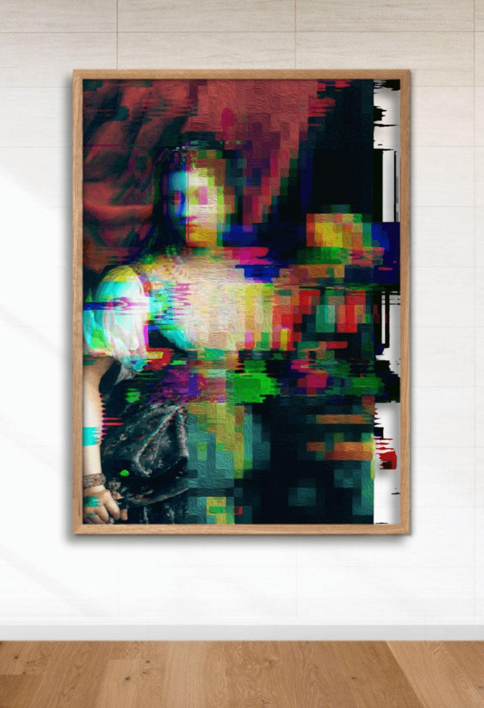 Part of Christie's NFT Art auction, Portrait of a pixelated woman in Rewind Collective's Remember Us IV (Watch Your Head), non-fungible token (.mp4