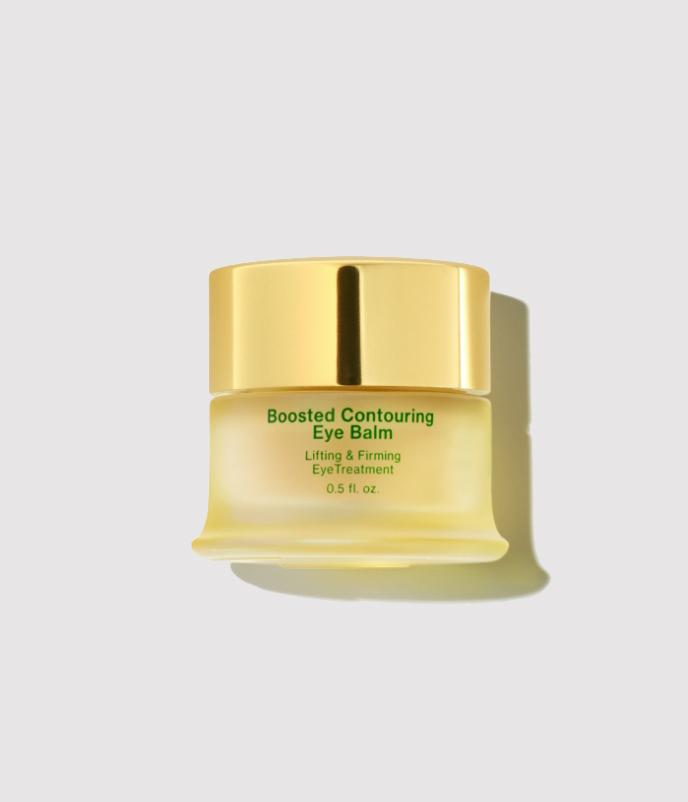 Tata Harper's Boosted Contouring Eye Balm in cream coloured glass container with gold lid