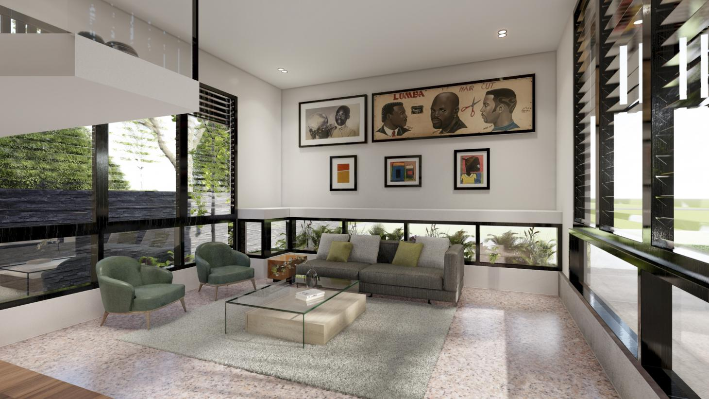 contemporary double height interior of compact Ghana residence