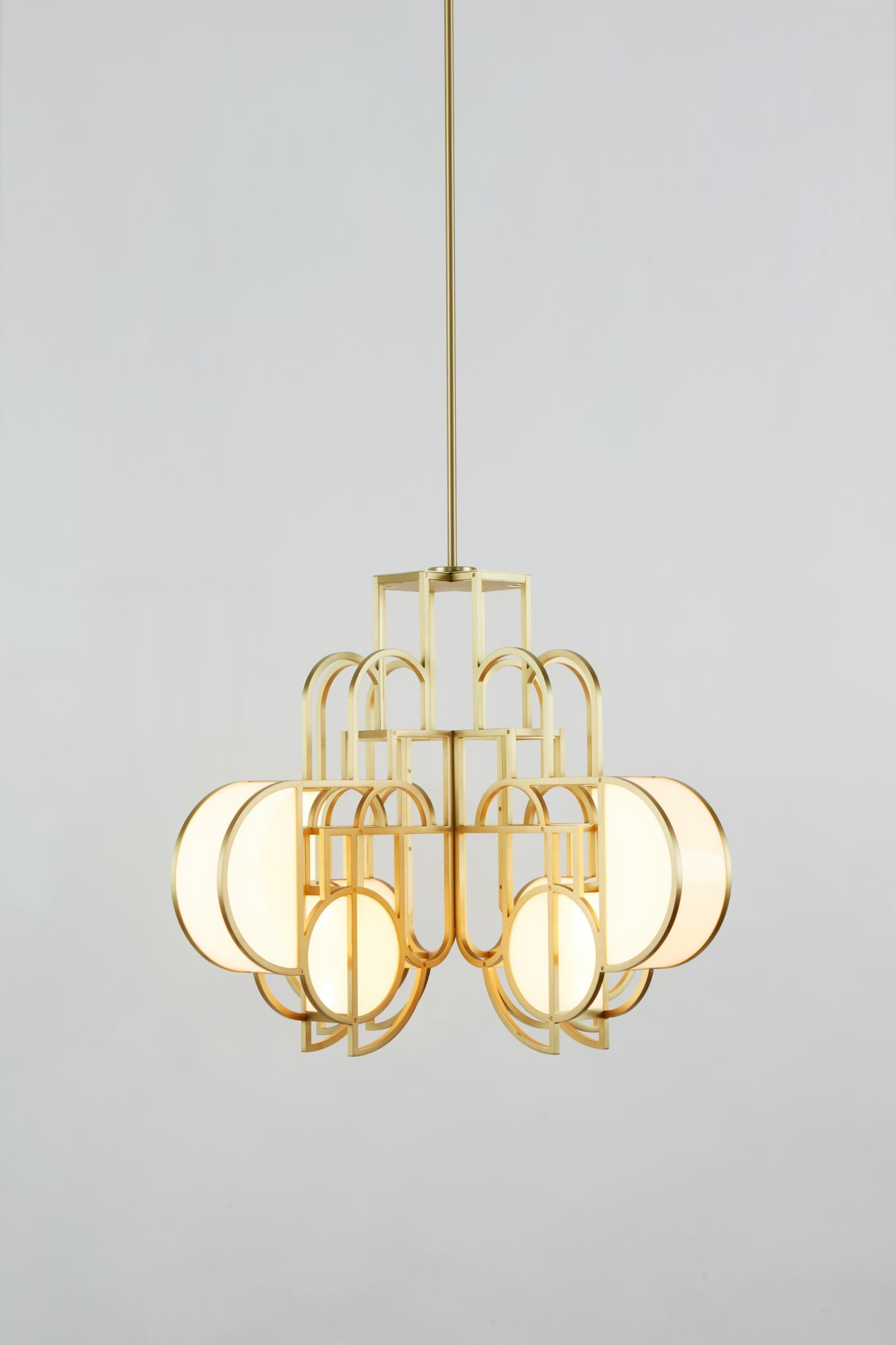 Pendant light chandelier by Lara Bohinc for Roll & Hill in brushed brass