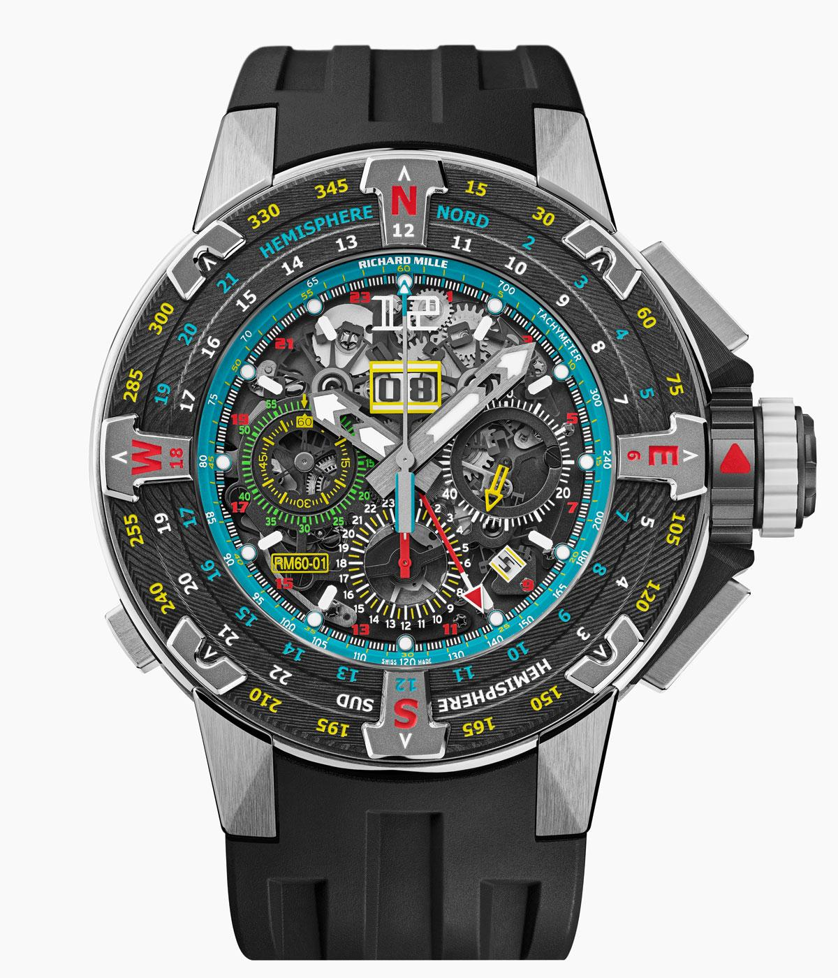 Richard mille watch with a coluorful green dial with multiple time zones
