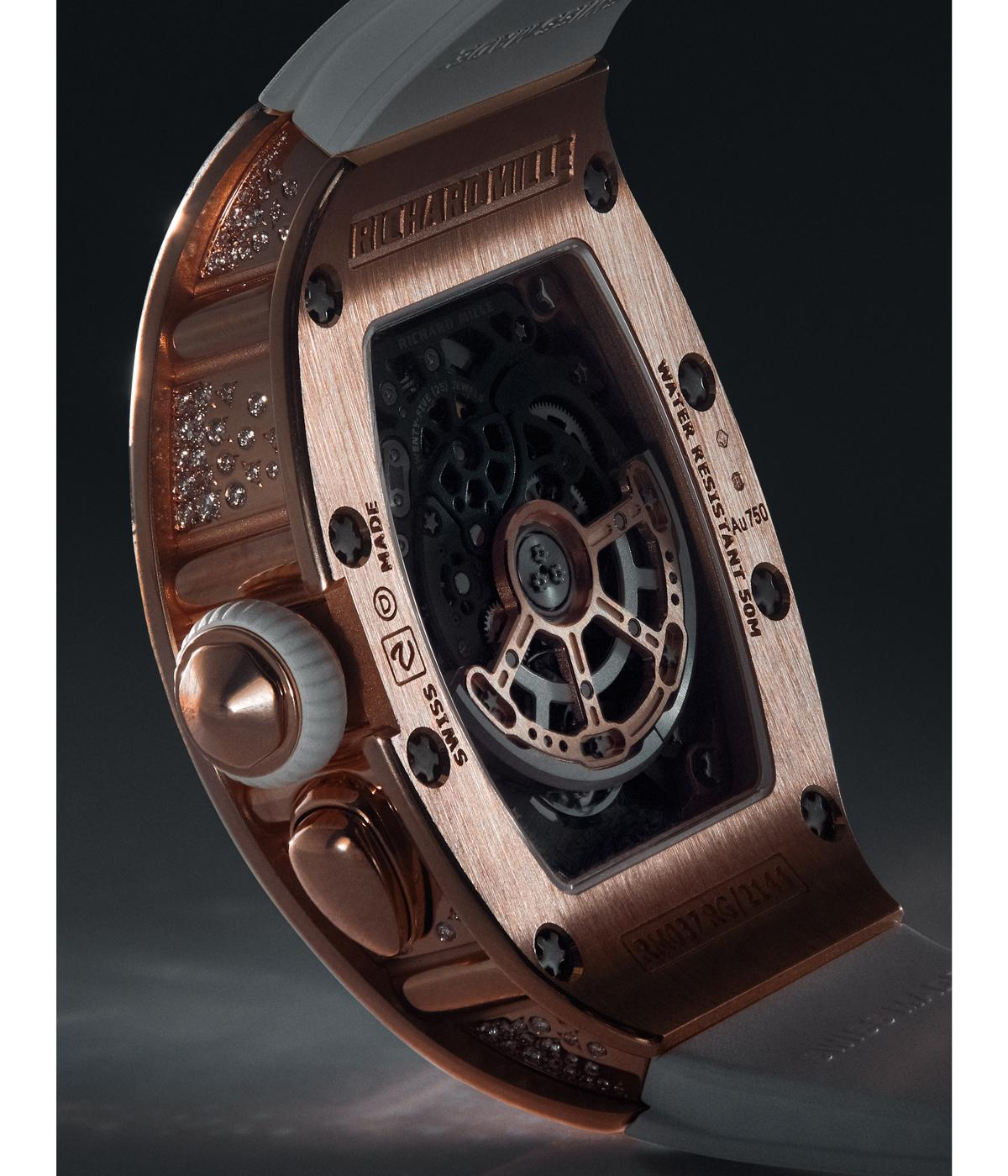 red gold back of a richard mille watcho