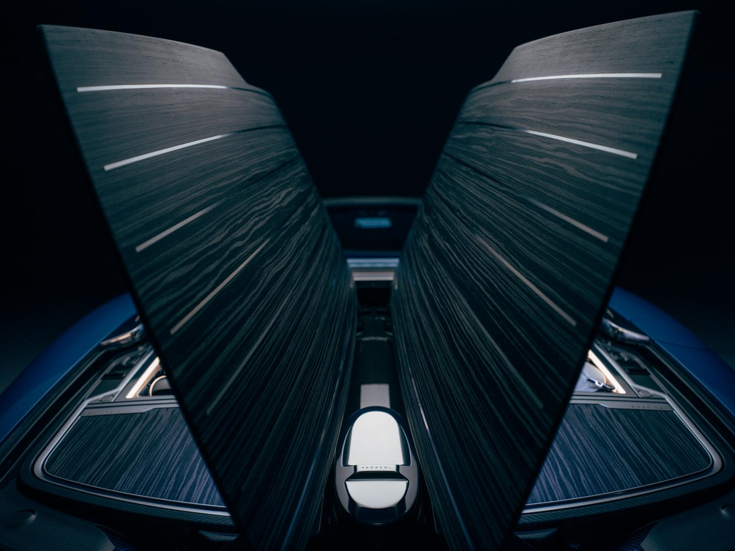 The folding doors in the rear deck of the Rolls-Royce Boat Tail