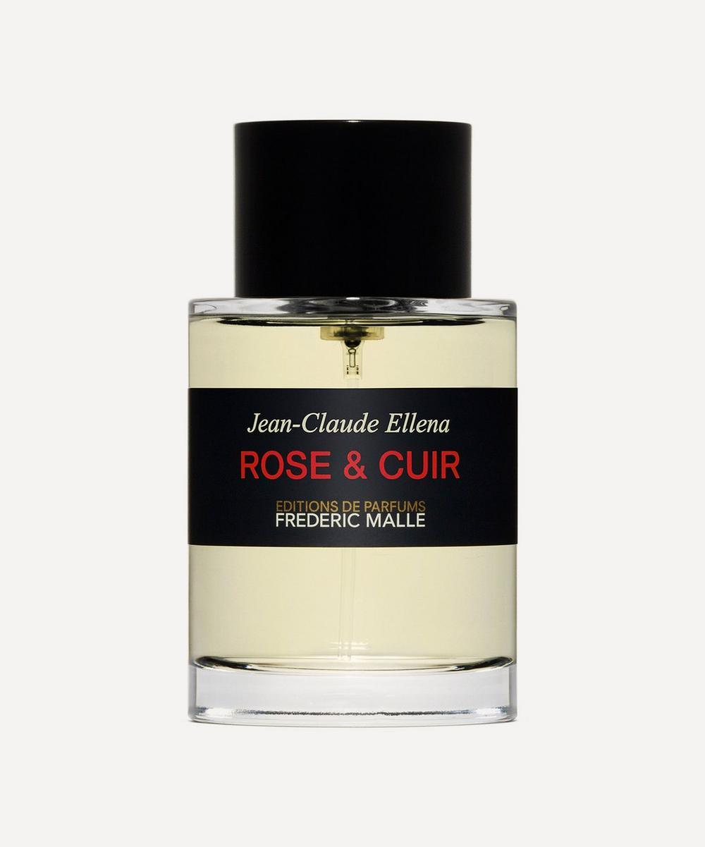 frederic malle rose & cuir perfume in glass bottle against grey background