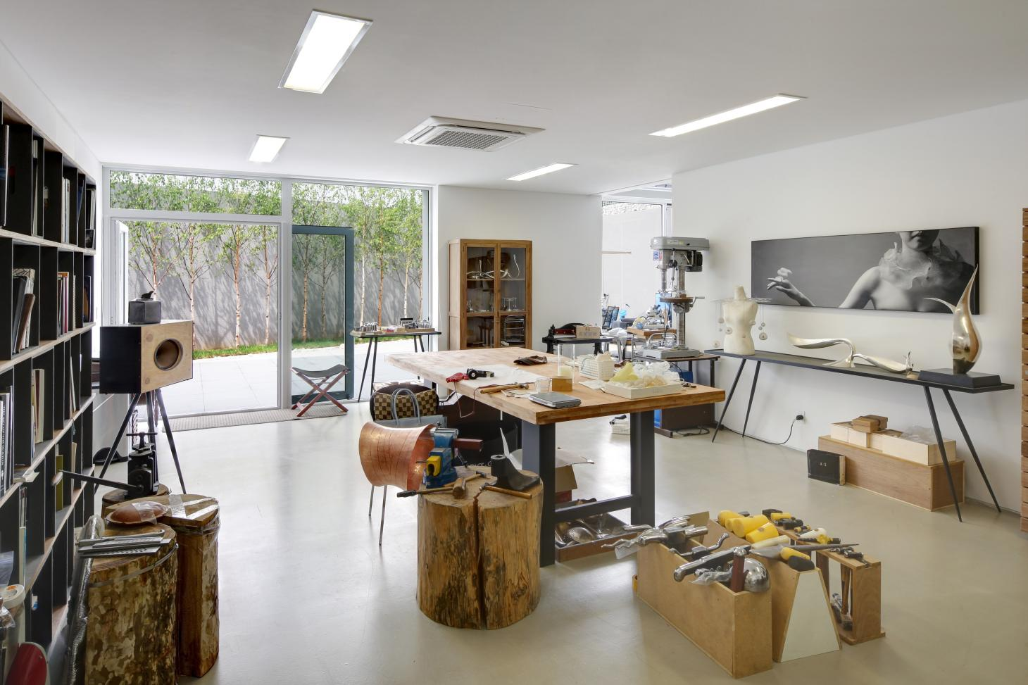 South Korean rounded house's workshop space looking out to the countryside