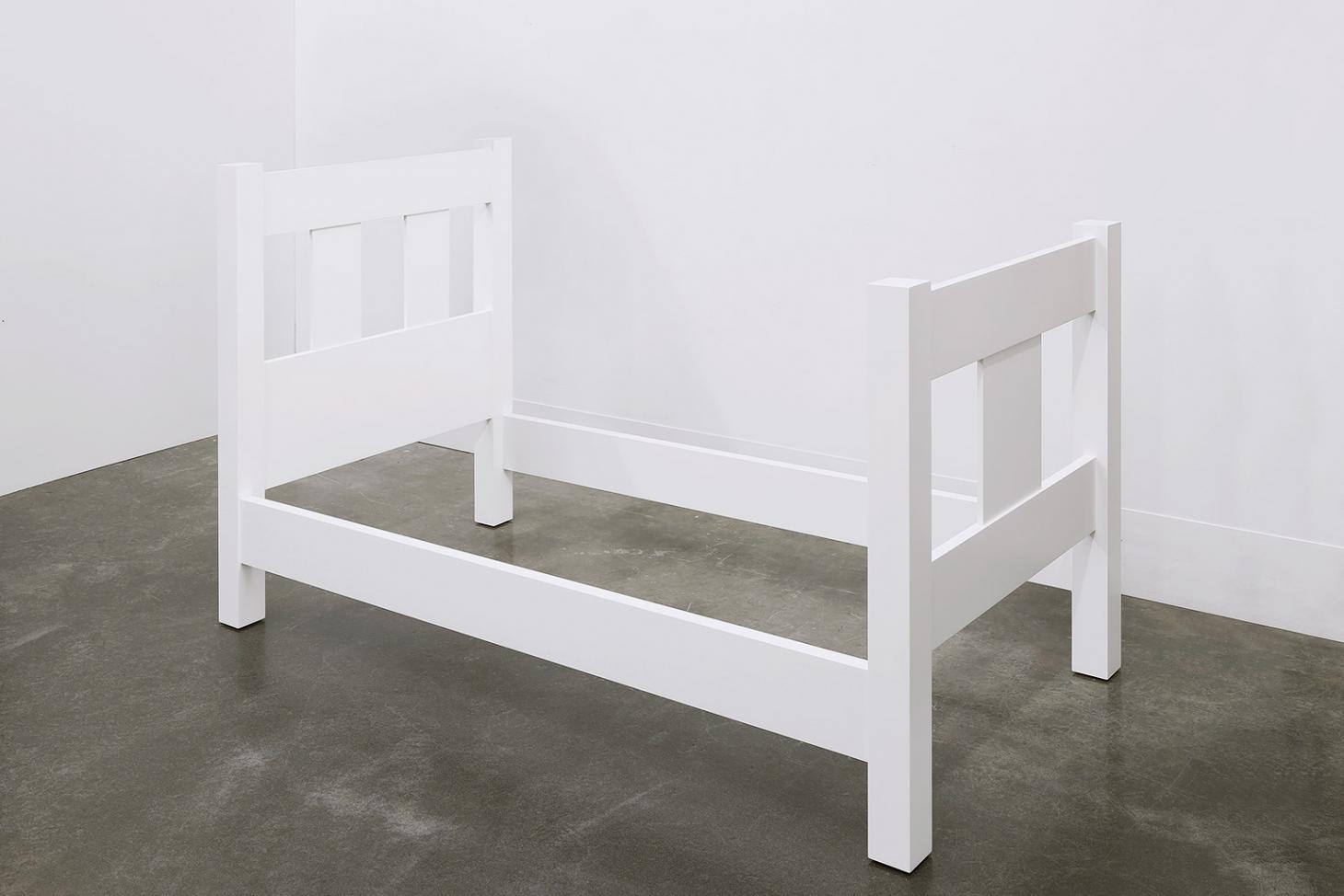 A Sculpture of a Bed, 2018, by Roy McMakin, enamel on eastern maple