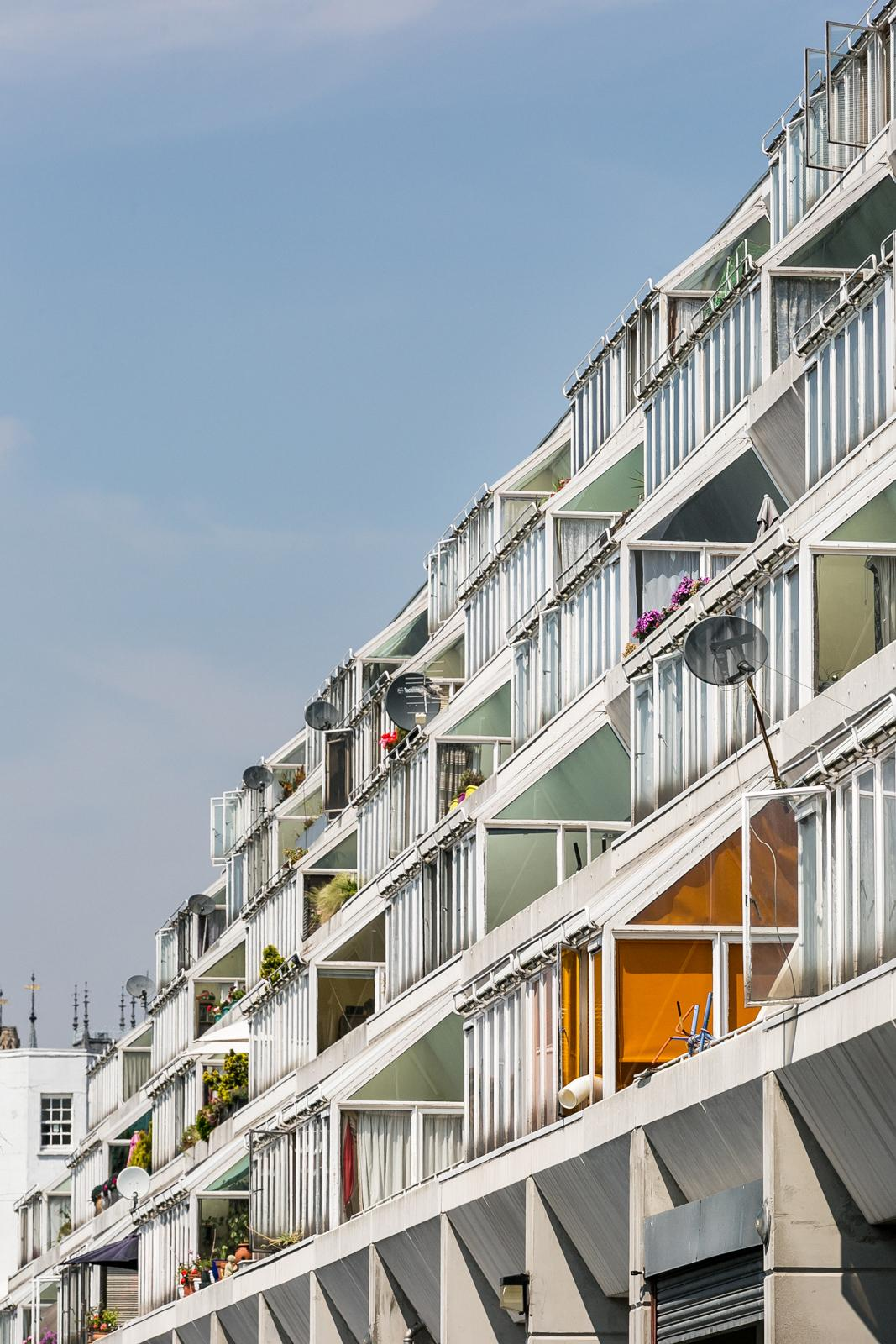 balconies of brunswick centre in Camden area of London