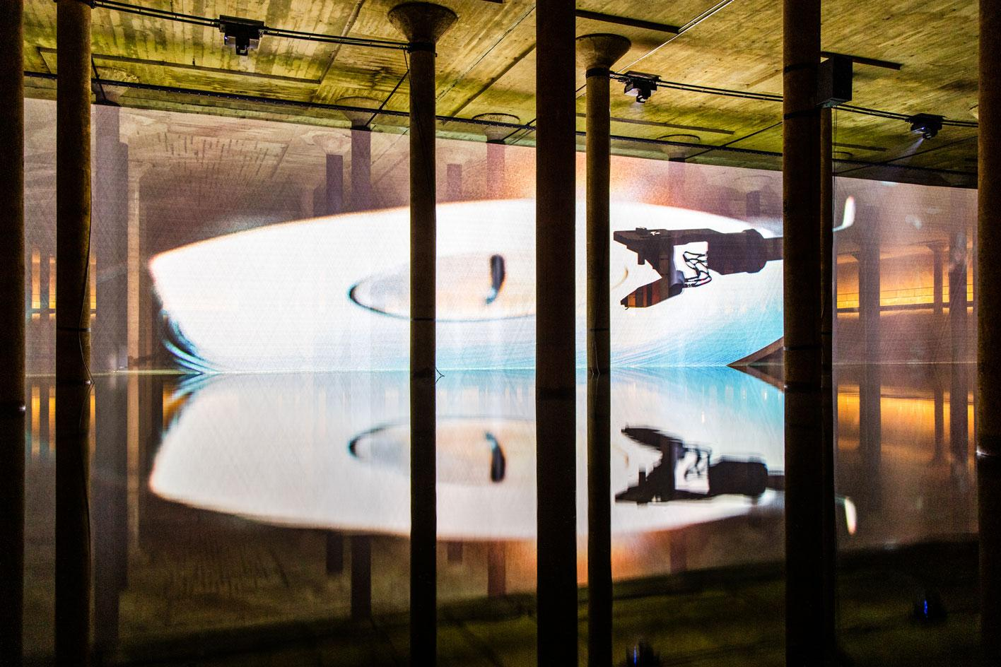 Anri Sala, Time No Longer installation, 2021 in the Buffalo Bayou Park Cistern, Houston