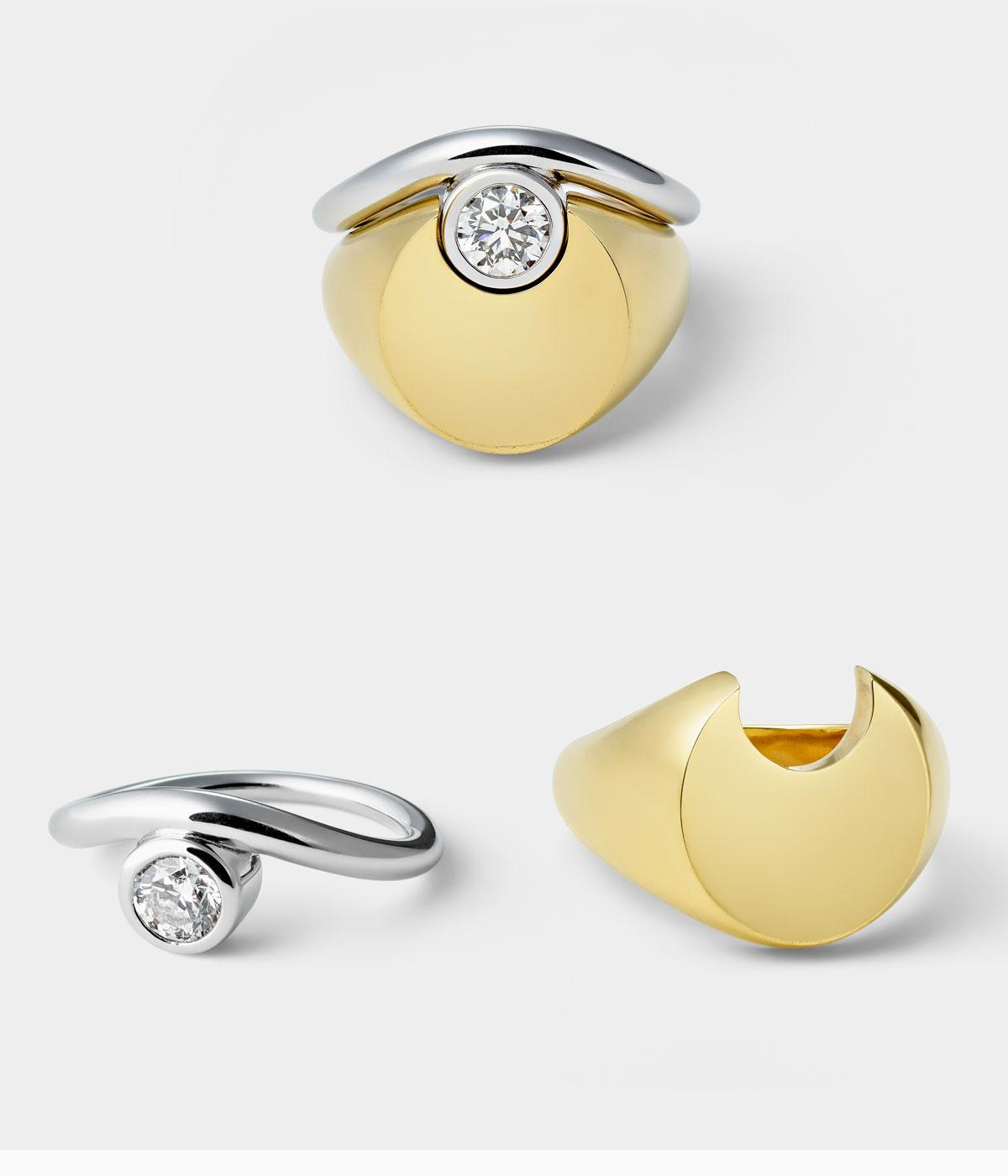 Sam Ham engagement signet ring in gold and silver