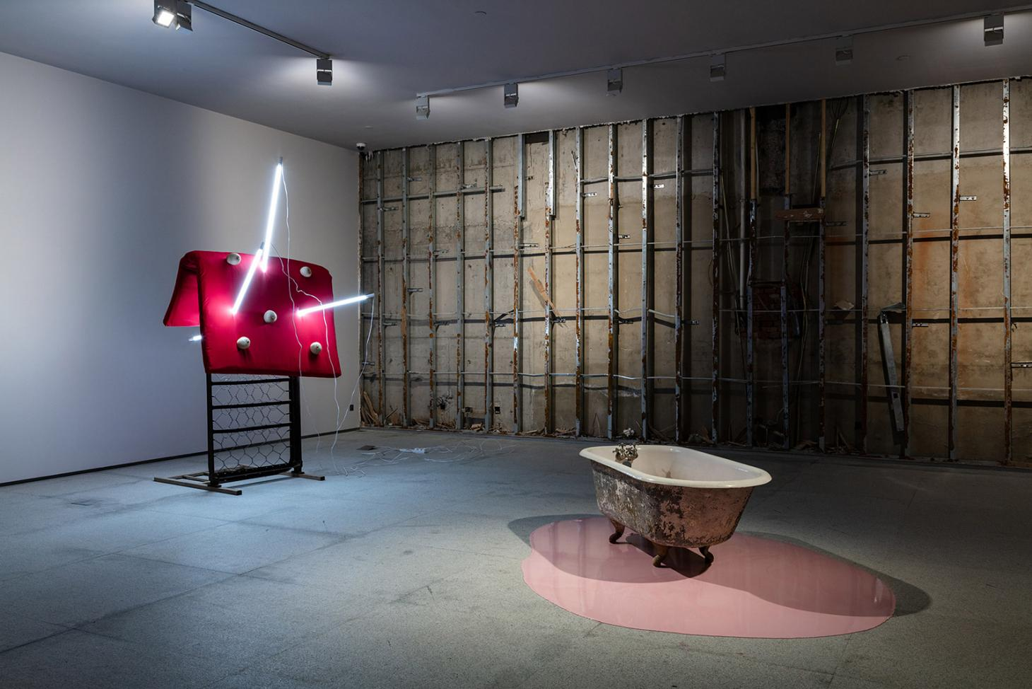 Installation view of 'Sarah Lucas' at Red Brick Art Museum, Beijing