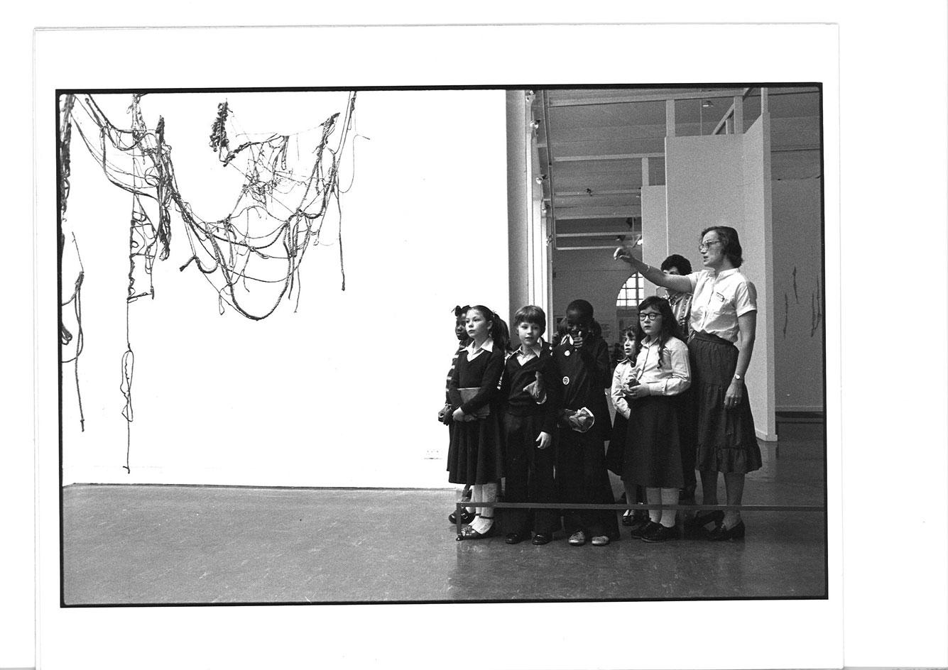 School groups at Whitechapel Gallery during the Eva Hesse exhibition, 4 May -17 June 1979
