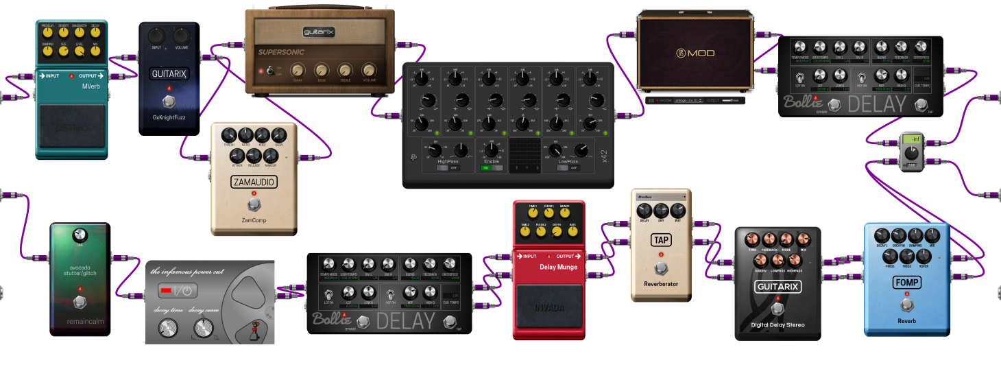 A typical MOD Dwarf virtual pedalboard