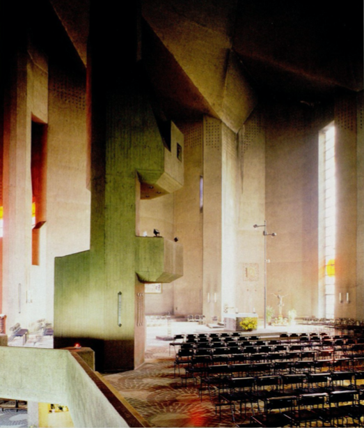 Inside Gottfried Bohm's Pilgrimage Chapel where light play accentuates the unusual forms