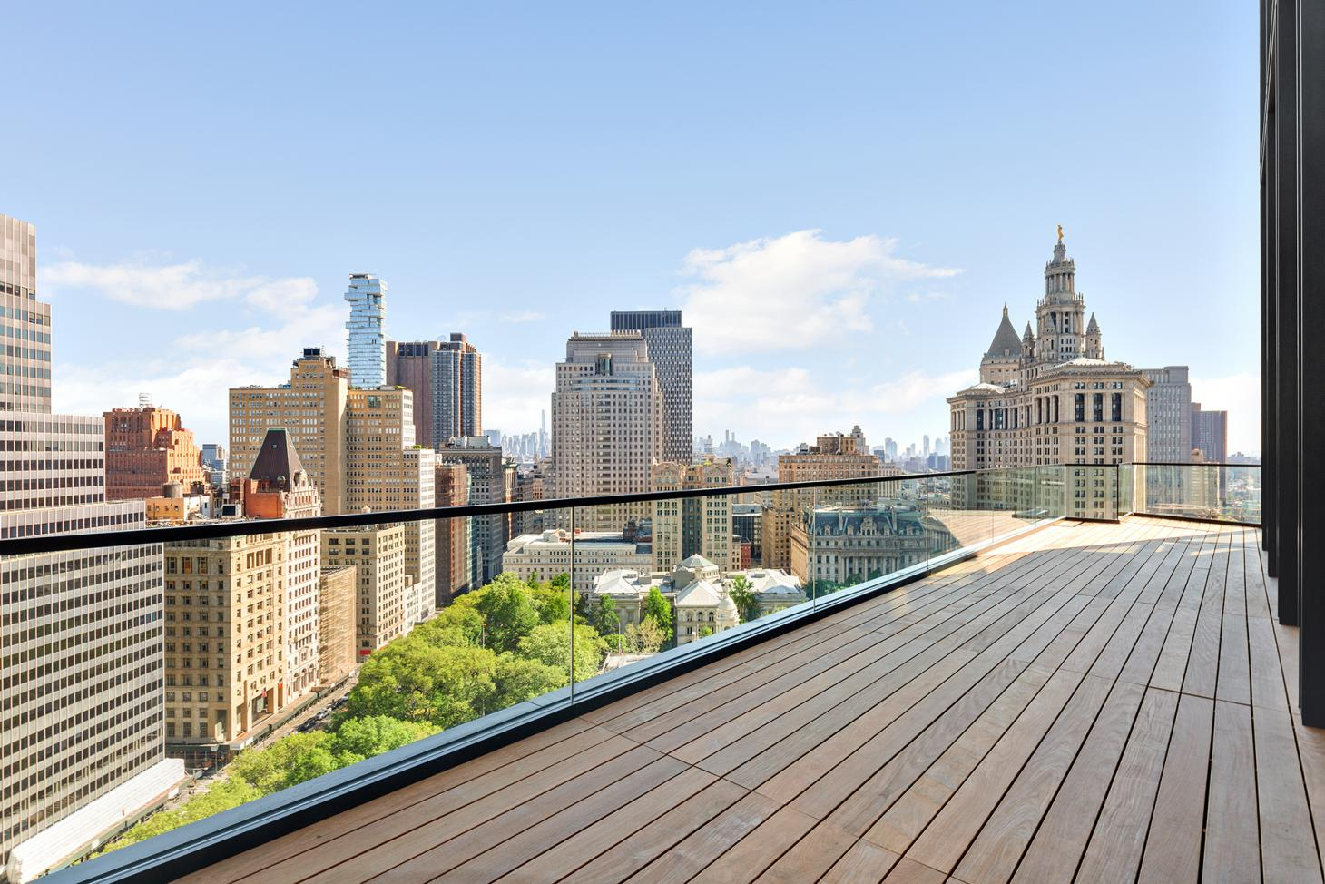 wood decked terrace for the residents at No. 33 Park Row by RSH+P in New York