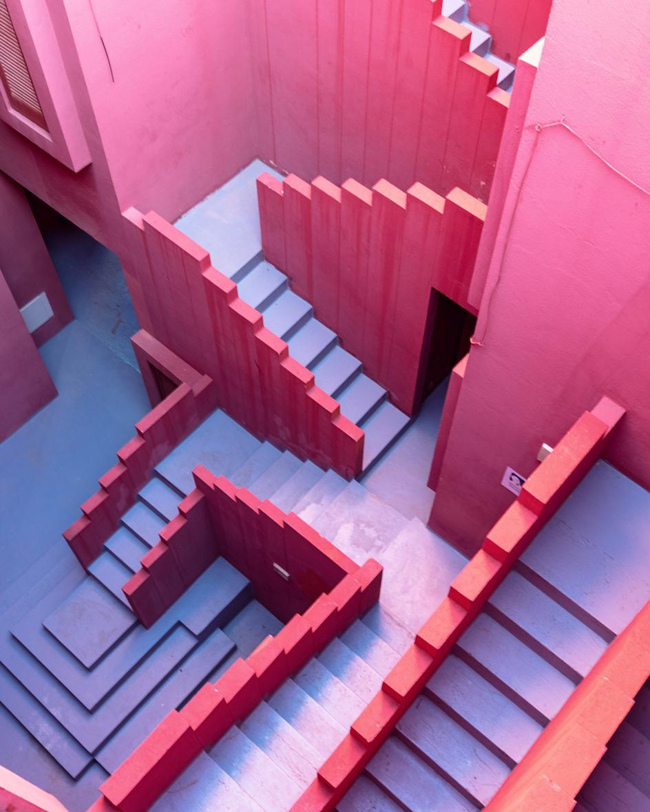 View of staircase in Sebastian Weiss' photo series on Ricardo Bofill's 'La Muralla Roja' in Calp, Spain