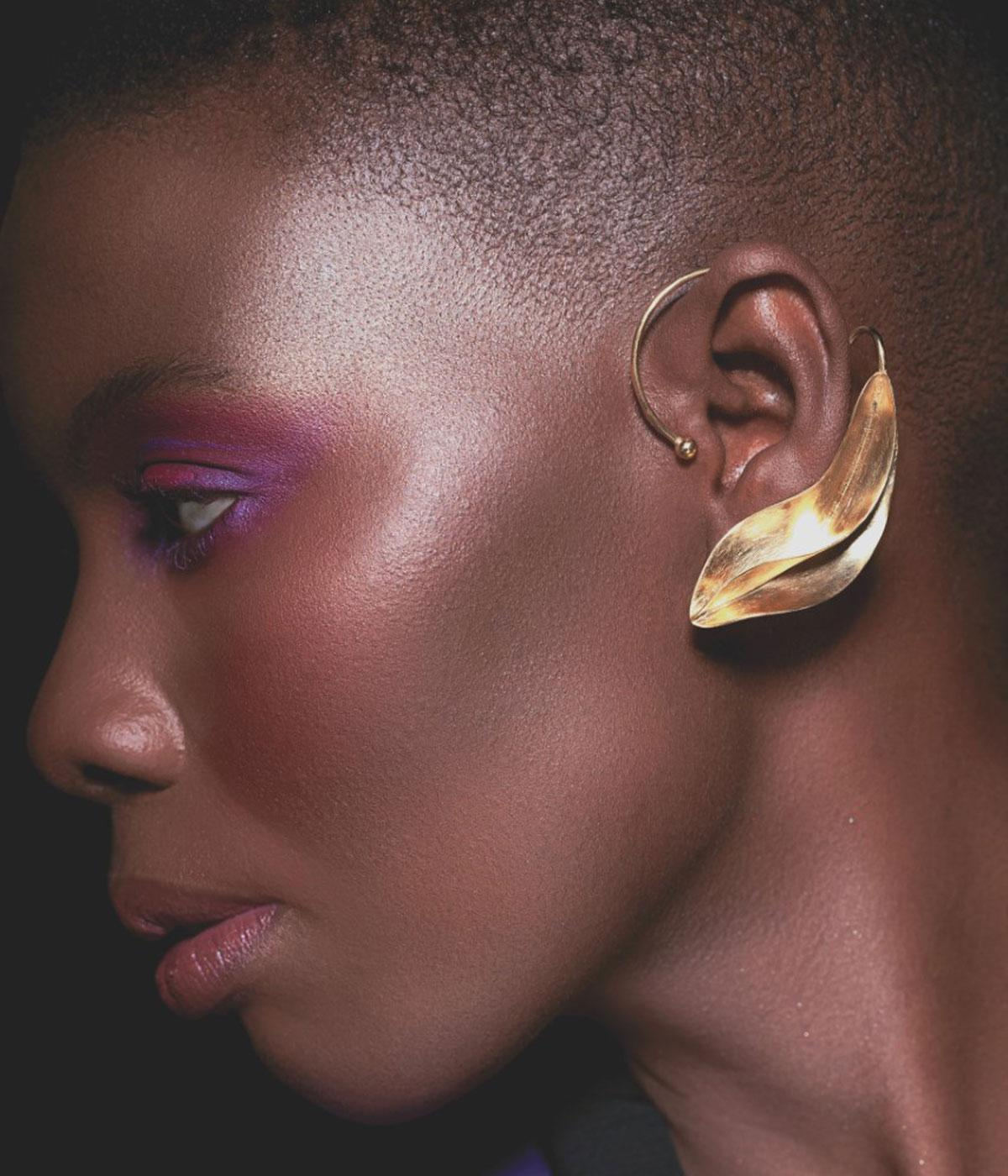 Black owned British jewellery brand gold sculptural earrings