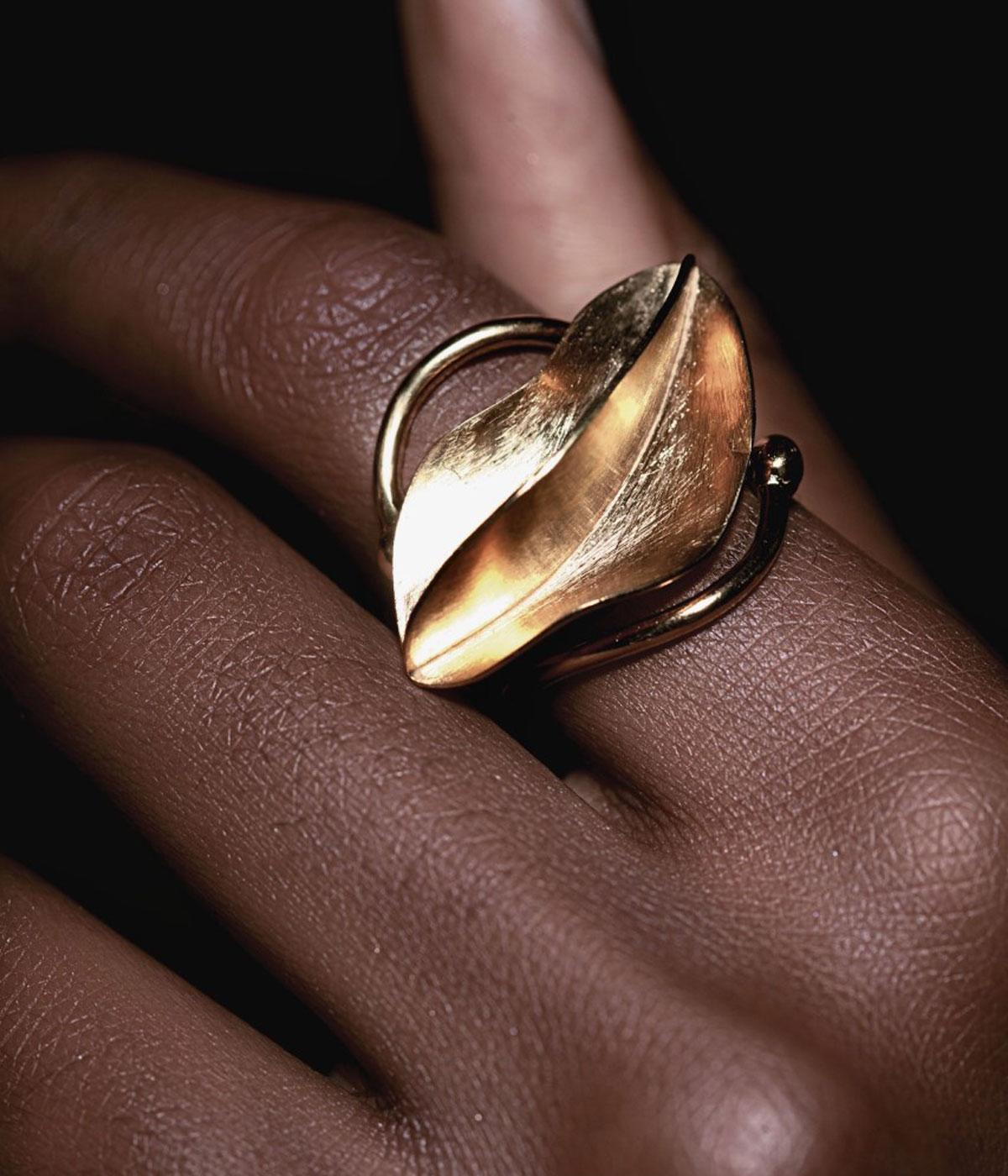 Black owned British jewellery brand gold sculptural ring