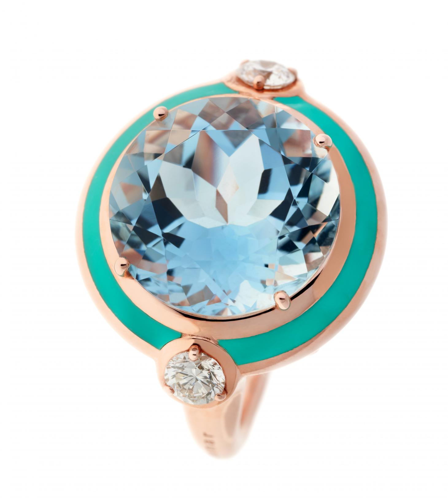 Aquamrine ring surrounded by a teal circle