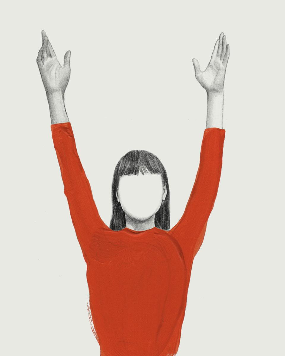 illustration of a girl in orange raising her arms