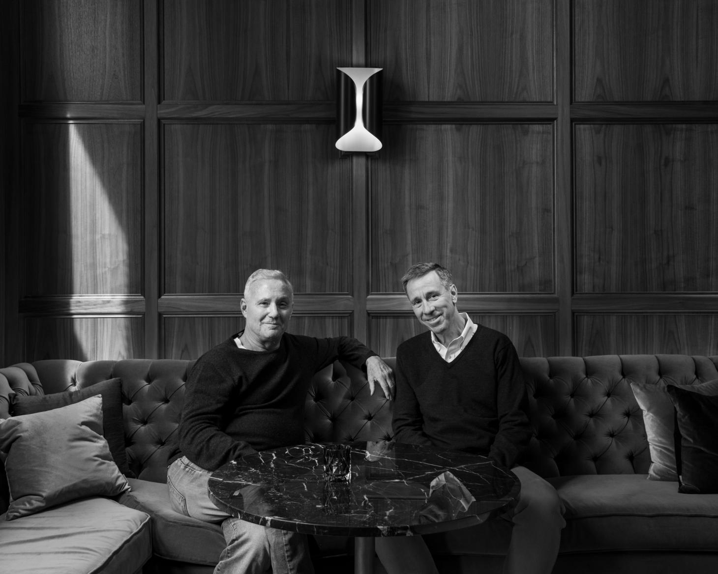 Ian Schrager (left) and Arne Sorenson photographed in the Times Square Edition Hotel in NYC