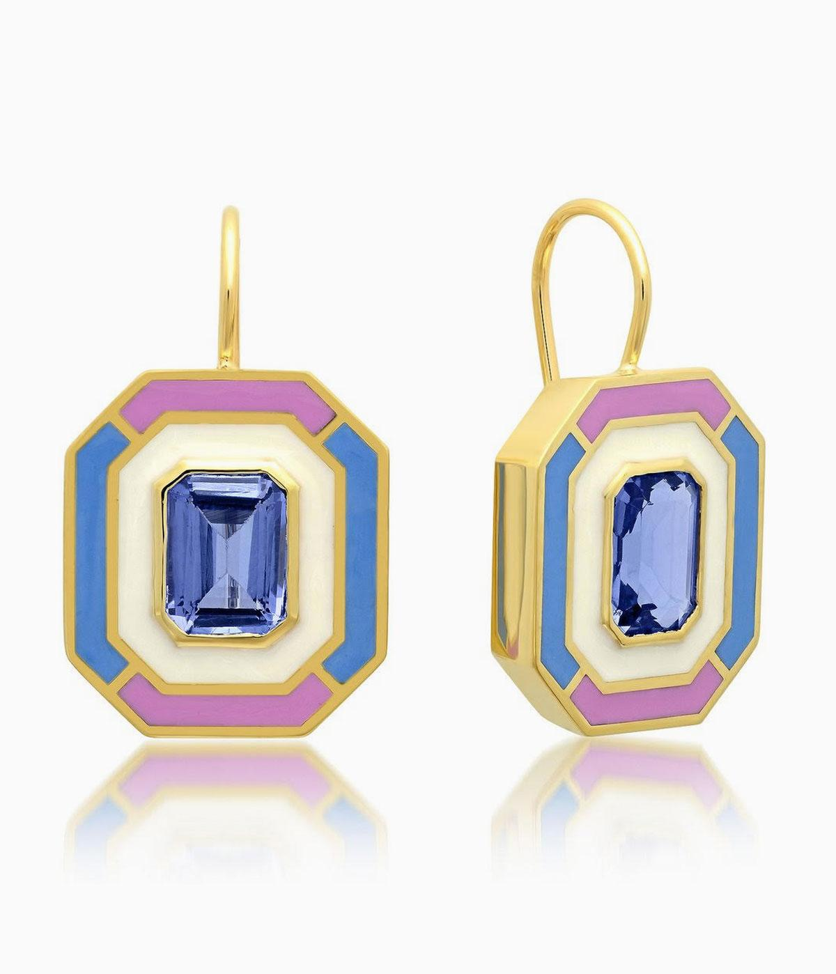 Topaz earrings with pink and blue graphic lines