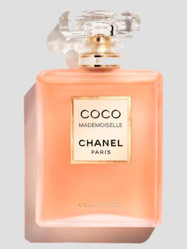 Chanel Coco Mademoiselle l'eau Privee in beige square bottle against grey background