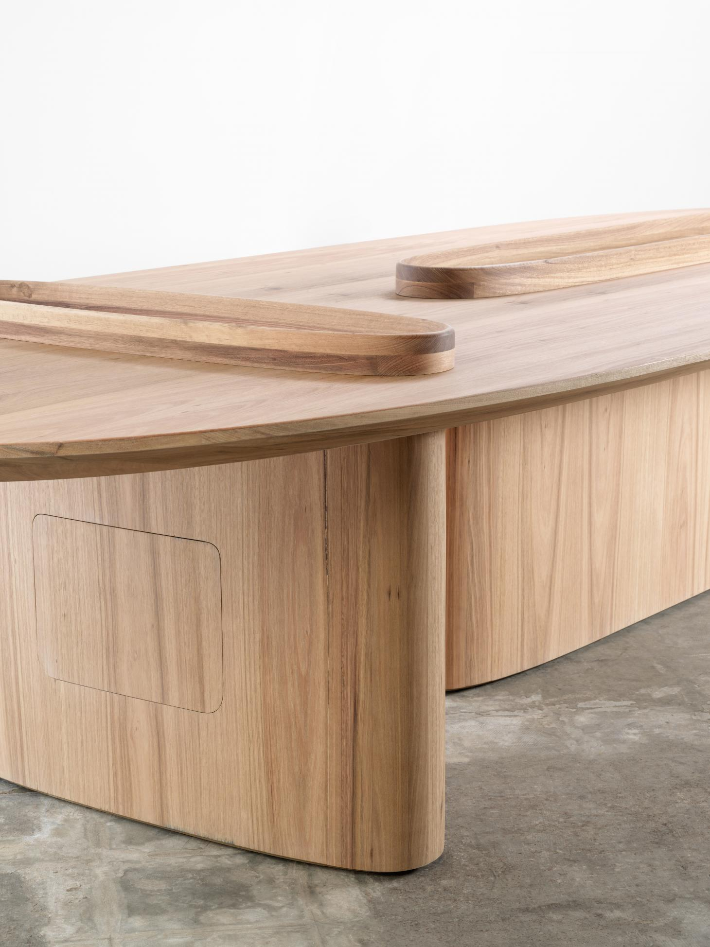 Snøhetta's oval shaped Intersection Worktable is made from Tasmanian Oak