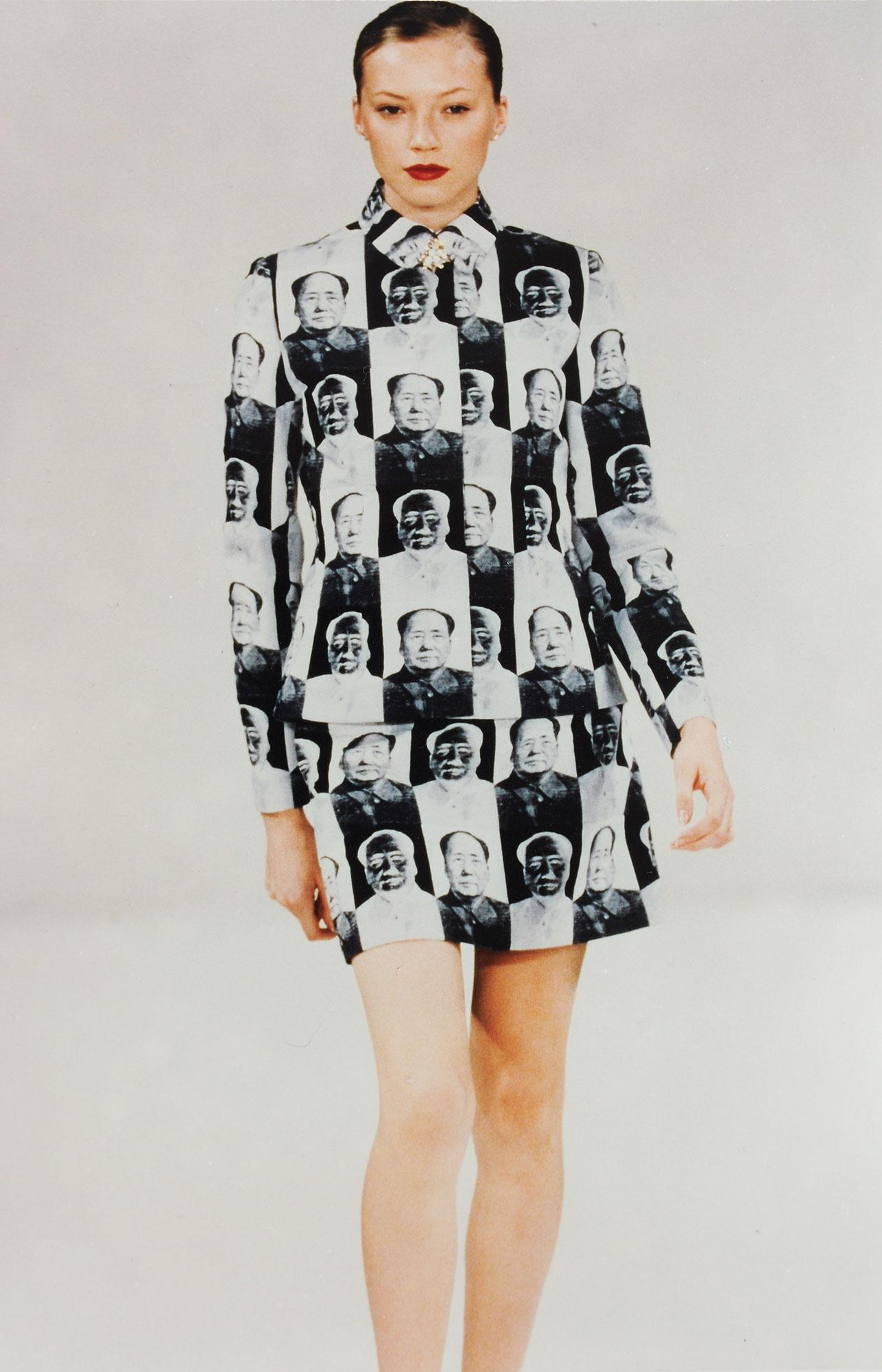 A model wearing a dress with Chairman Mao printed on