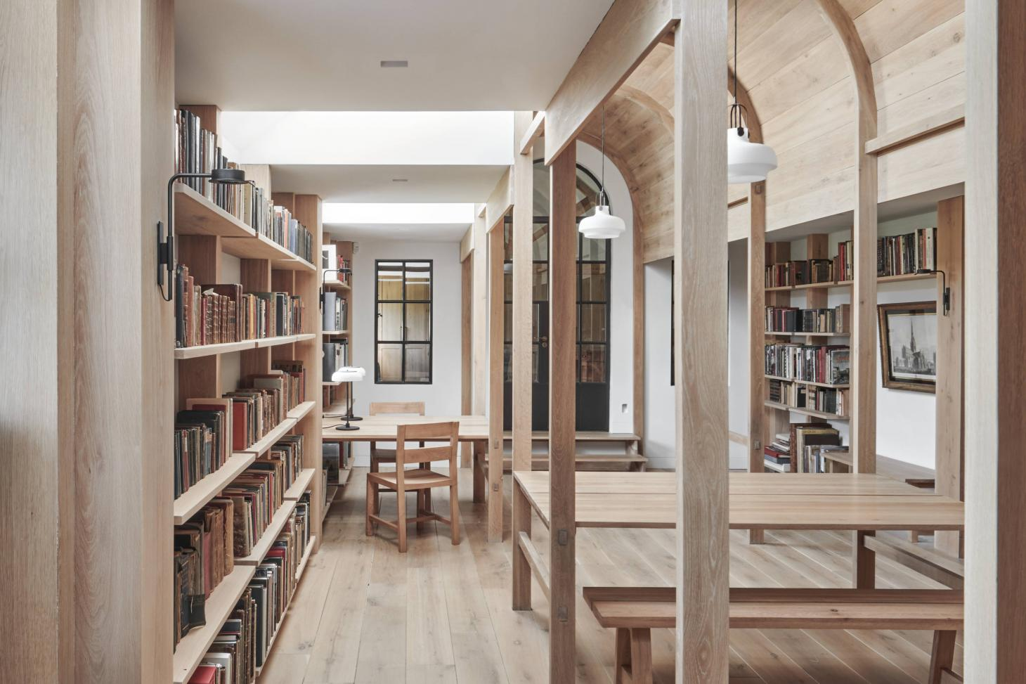 The oak joinery in Crawshaw Archtects' new library in Dorset