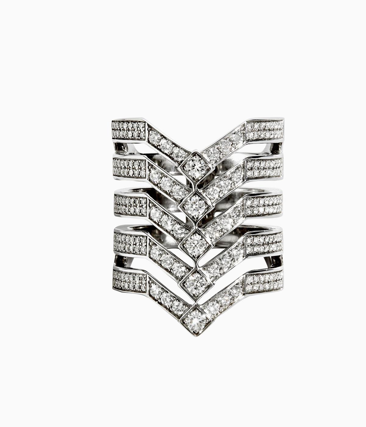 Statement diamond and silver ring